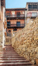 Street with balcony of albarracin located in the spanish province teruel you can see the wood and stairs it s a vertical picture Stock Photography