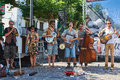 A street band in a street of Hondarribia. Basque country, Spain. Royalty Free Stock Photo
