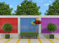 Street with bench and colorful balloons against brick wall rendering Stock Photo