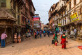 Street in bhaktapur nepal april th the streets of the medieval town of nepal on april th Stock Photography