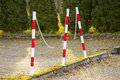 Street bollards, protection against accident. Royalty Free Stock Photo