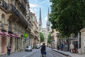 Street of bordeaux france may cathedral cathedrale saint andre de is a roman catholic cathedral seat the archbishop Royalty Free Stock Images