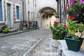 Street in bourbon lancy with old stones france Royalty Free Stock Images