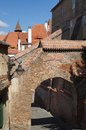 Street with brick arches a located in sibiu romania Royalty Free Stock Photo