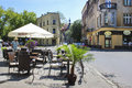 Street cafe in Kazimierz quarter, Krakow, Poland Royalty Free Stock Photo