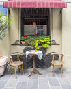 Street cafe in krakow small restaurant garden on the off old poland Royalty Free Stock Photos