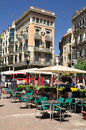 Street cafe at la rambla in barcelona spain Stock Image