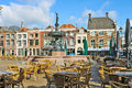 Street cafe near the fountain in Gorinchem. Stock Images