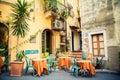 Street cafe in Taormina Royalty Free Stock Photo