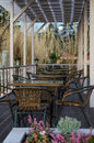 Street cafe with wicker furniture Royalty Free Stock Photo