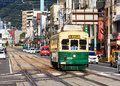 Street car in nagasaki japan november served by tram lines operated by nagasakic electric tramway provide easy access to most city Royalty Free Stock Image