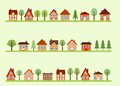 Street cartoon small town view with homes and trees european village Stock Photo