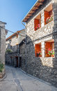 Street of cerler village located in the spanish province huesca we see the facades the stone houses in a sunny day it s a Royalty Free Stock Photos