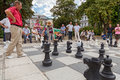 Street chess sarajevo bosnia and herzegovina aug people play on the with large pieces on august in sarajevo b h it is very Royalty Free Stock Images