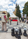 Street chess sarajevo bosnia and herzegovina aug people play on the with large pieces on august in sarajevo b h it is very Royalty Free Stock Photography