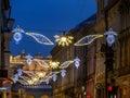 Street christmas illumination outdoor at night krakow poland Stock Image