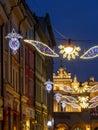 Street christmas illumination outdoor at night krakow poland Royalty Free Stock Images
