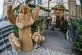 Street Christmas Nativity scene made of straw, Prague, Czech Republic Royalty Free Stock Photo