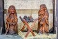 Street Christmas Nativity scene made of wood, Prague, Czech Republic Royalty Free Stock Photo