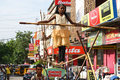 Street circus in india a girl belonging to family group of tight rope walkers performing on the busy streets of pondicherry Royalty Free Stock Image
