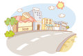 Street and city cartoon background illustration Stock Photo
