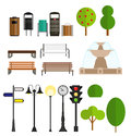 Street City Flat Design Elements. Vector Royalty Free Stock Photo