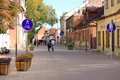 Street in the city of kuldiga in latvia circa october walking Stock Photos