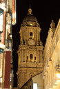 Street in the city of malaga at night andalusia spain Royalty Free Stock Photo