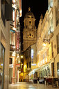 Street in the city of malaga at night andalusia spain Stock Photos
