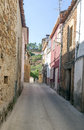 Street of ciudad rodrigo spanish city we see the stone houses with windows it is an image vertically on a sunny day in the Royalty Free Stock Photography