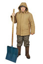 Street cleaner with a big spade Royalty Free Stock Image