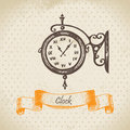 Street clock hand drawn illustration Stock Images