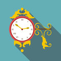 Street clock icon, flat style