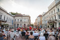 Street concert performed in the city center of Szeged, Hungary, at sunset, by the local classical music band Royalty Free Stock Photo