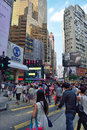 Street crossing in hong kong people the hennessy road causeway bay district Royalty Free Stock Images