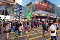 Street crossing in hong kong people the nathan road tsim sha tsui district Stock Photography