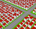 Street crossing in stylized town a countless number of small houses with red roofs arranged regular rows on a green ground with a Stock Photography