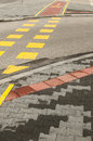 Street crossroad markings for pedestrians and bikers Stock Photography