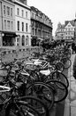 Street cycles scene parked at an oxford Royalty Free Stock Image