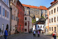 Street of czech krumlov ceske republic Stock Photography