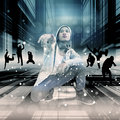 Street dance asian teenager performing with urban scene Royalty Free Stock Photography