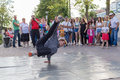 Street dancer on the central waterfront of the river don in rostov on don hip hop earn money july Stock Images
