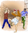 Street dancers on an abstract city background vector illustration of Stock Images
