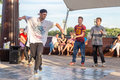 Street dancers on the central waterfront of the river don in rostov on don hip hop earn money russia july Stock Photos