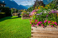 Street decorated by flowers chamonix mont blanc france europe Stock Photos