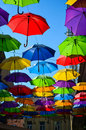 Street decoration lots of colorful umbrellas in the air belgrade serbia Stock Images
