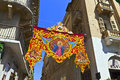Street decoration in valletta for a religious festival christian banners island of malta july Stock Photo