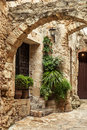 Street detail of pals small medieval village of costa brava Royalty Free Stock Photos