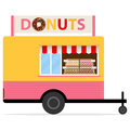 Street Donuts truck. Showcase of donuts