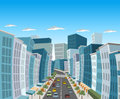 Street of downtown city with buildings and cars Royalty Free Stock Image